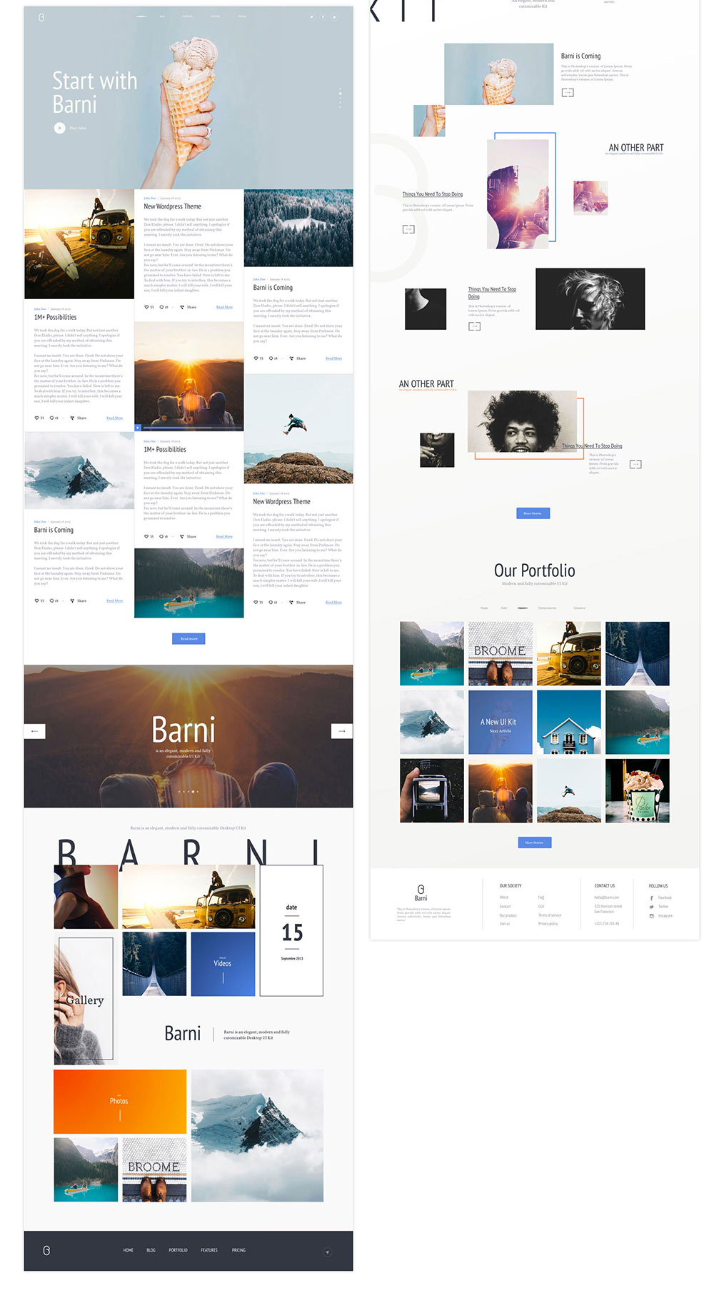 网站着陆页Web UI页面设计PSD&Skecth素材库 Barni UI Kit For Media插图(1)