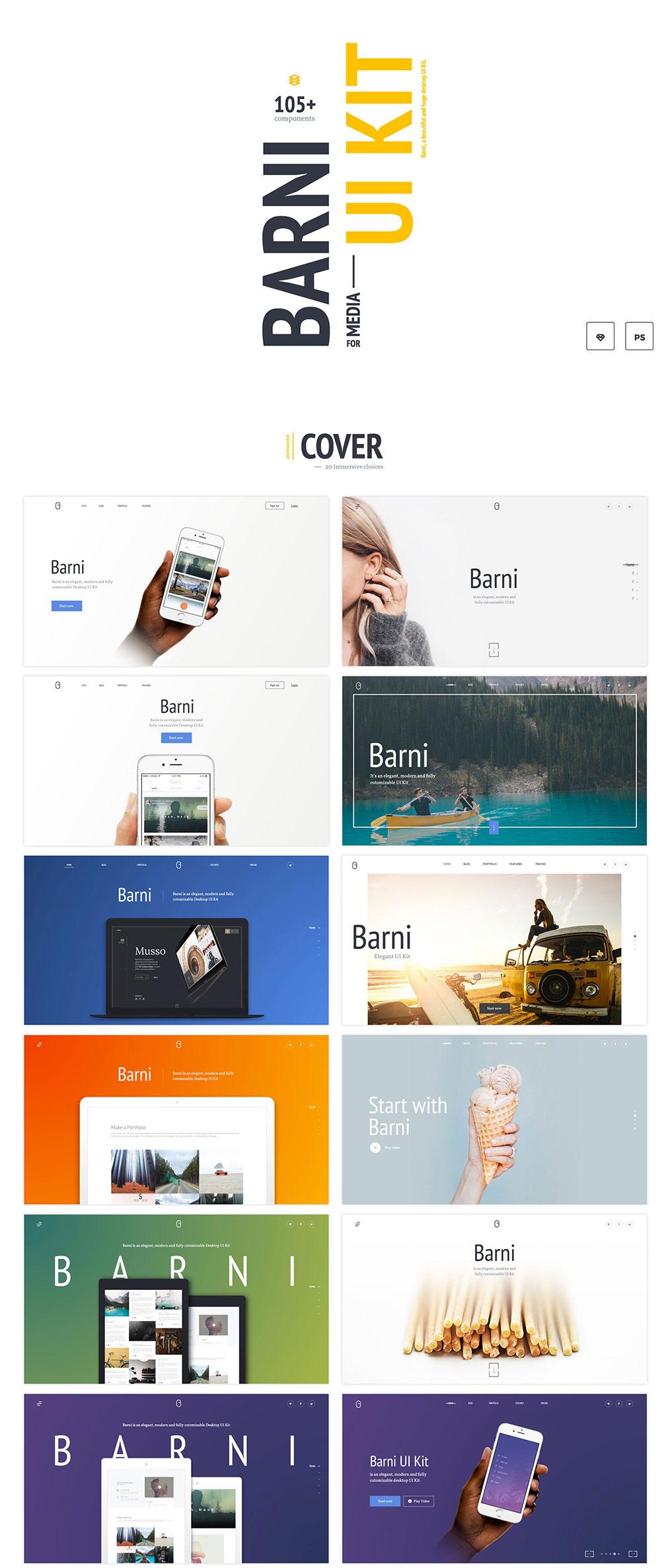 网站着陆页Web UI页面设计PSD&Skecth素材库 Barni UI Kit For Media插图(2)