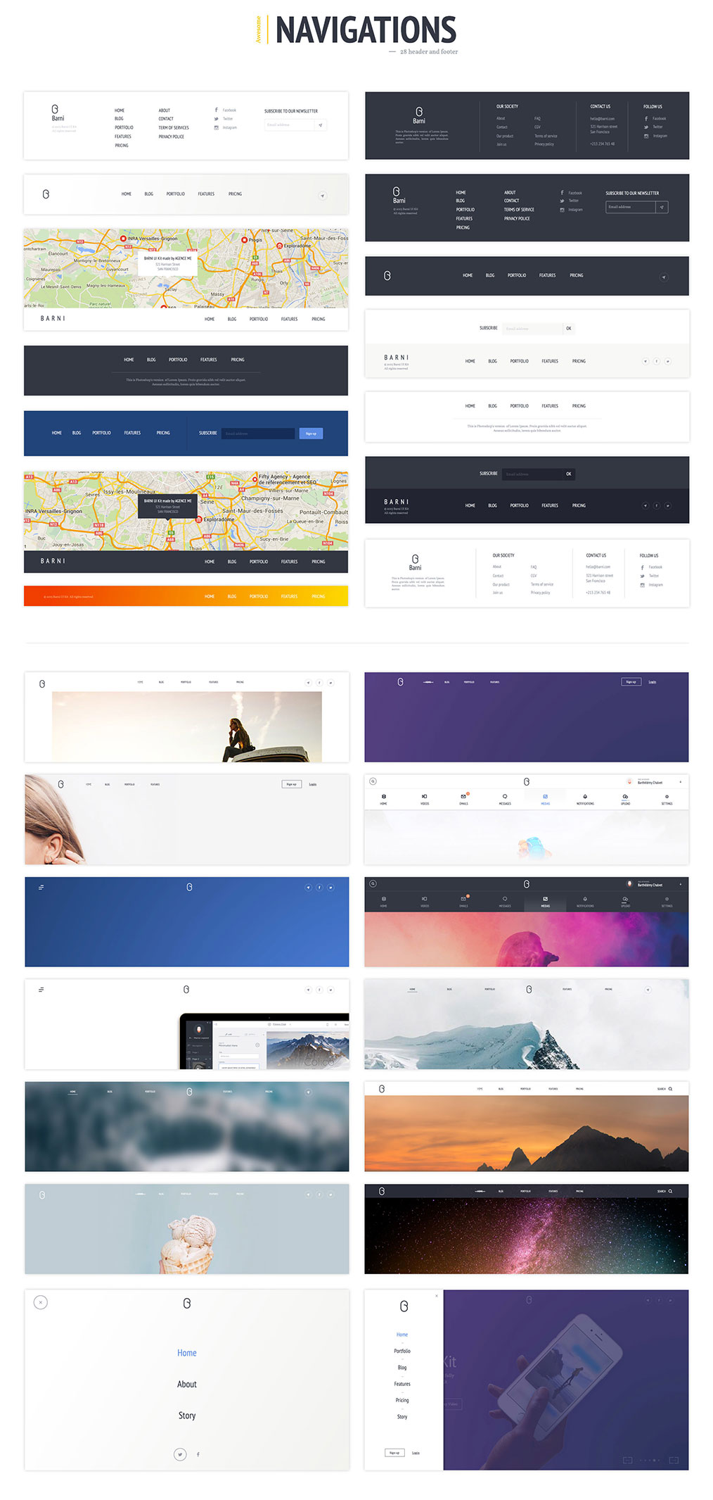 网站着陆页Web UI页面设计PSD&Skecth素材库 Barni UI Kit For Media插图(3)