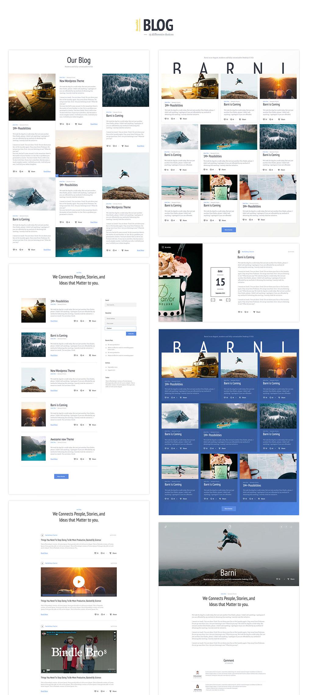 网站着陆页Web UI页面设计PSD&Skecth素材库 Barni UI Kit For Media插图(7)