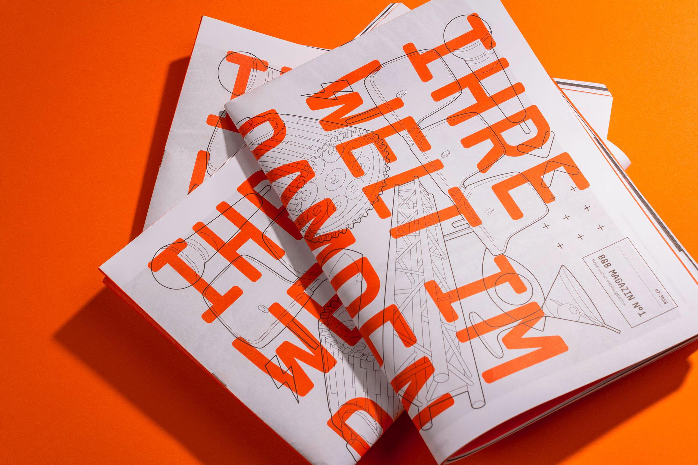 精美橘红杂志设计插图
