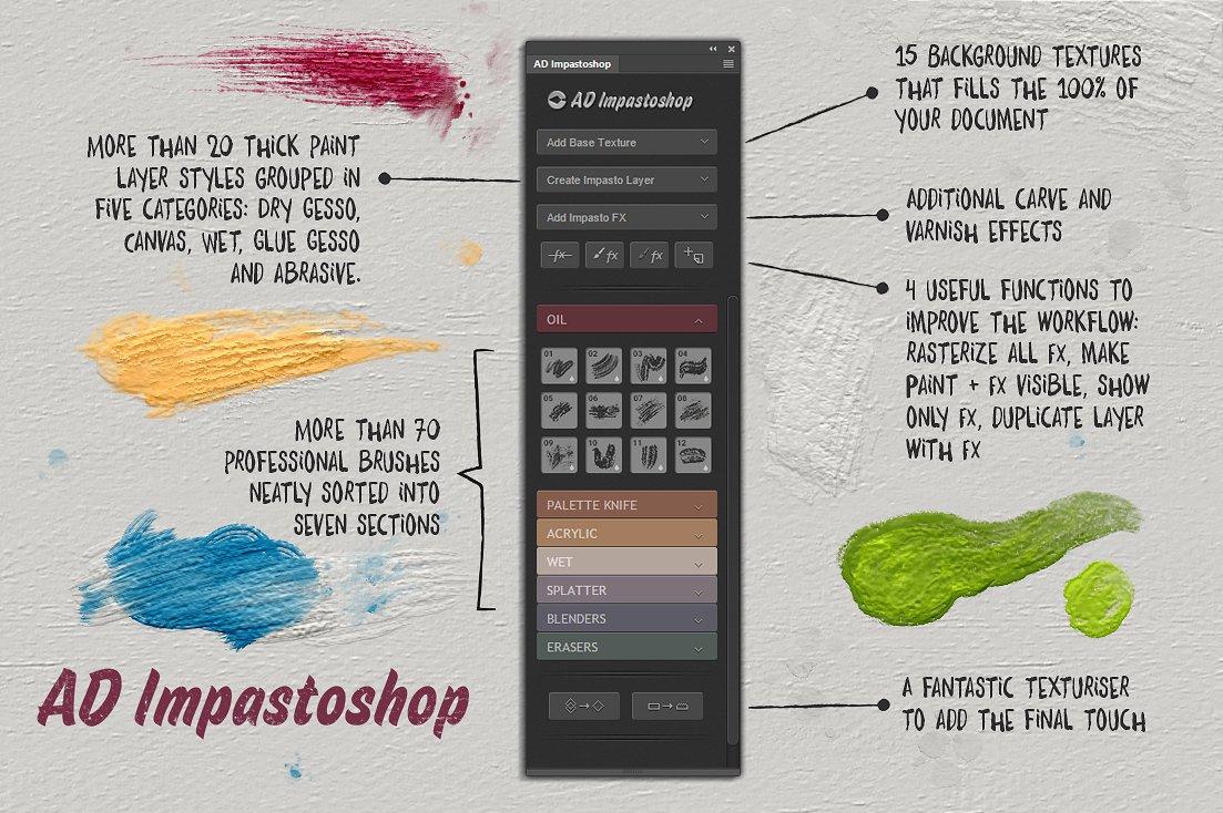 超逼真松油气味颜料笔刷厚涂绘画PS插件AD Impastoshop汉化版插图(3)