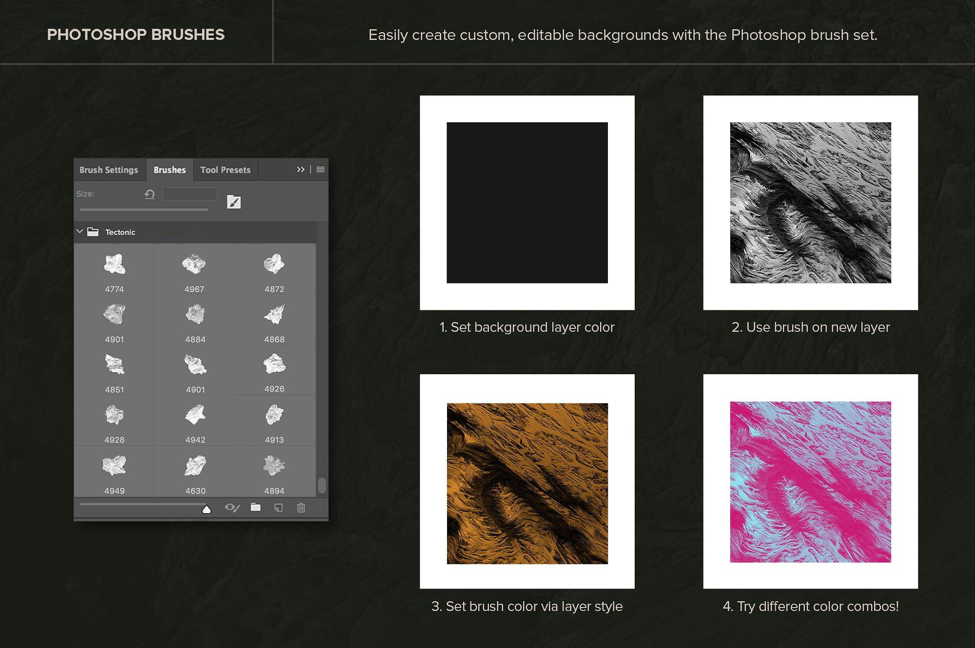 创意抽象纹理系列:10款混合油漆矿石有机图案3D纹理&PS笔刷 Tectonic (Exclusive)插图3