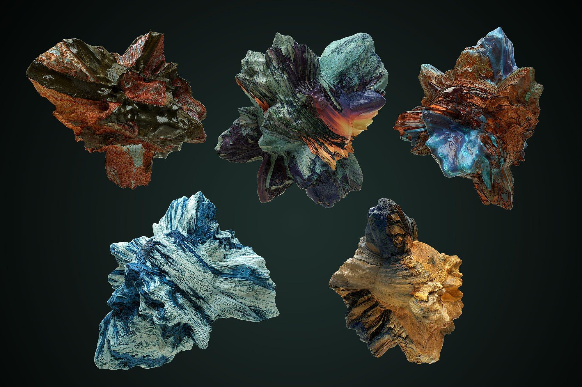 创意抽象纹理系列:10款混合油漆矿石有机图案3D纹理&PS笔刷 Tectonic (Exclusive)插图9
