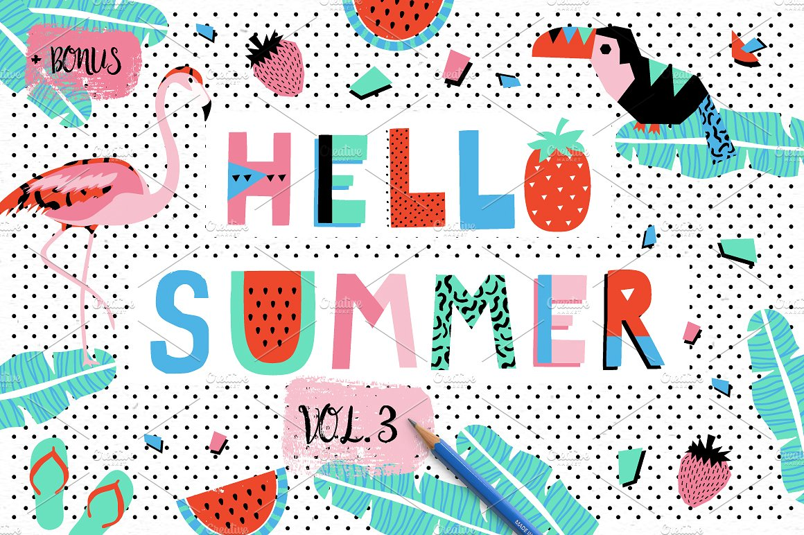 清爽的夏天元素矢量图案集合 Hello Summer Bundle插图