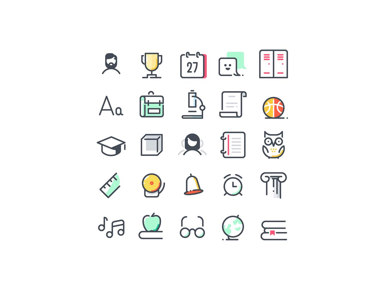72个学校教育主题图标合集 72 School Icons插图3