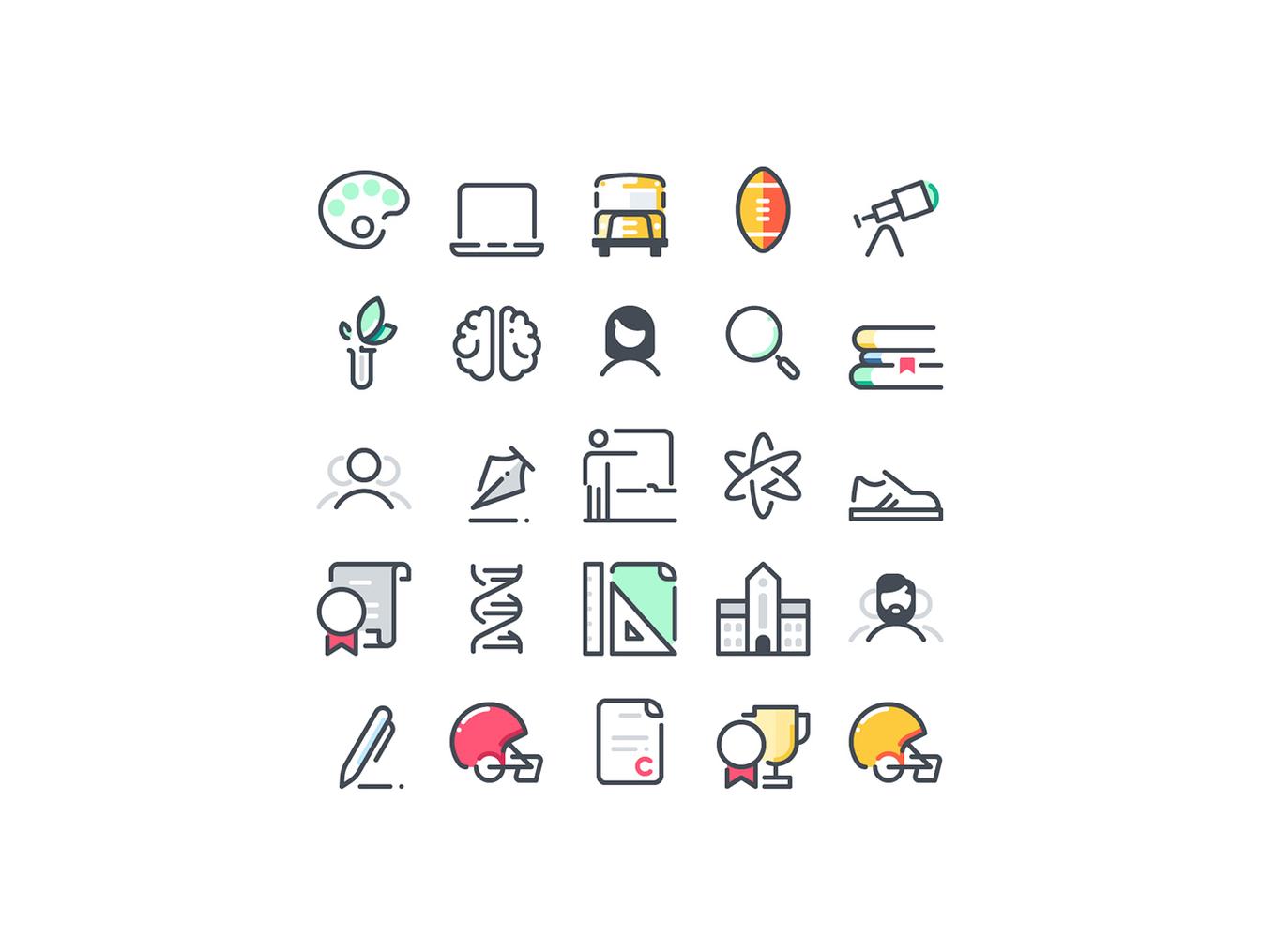 72个学校教育主题图标合集 72 School Icons插图4