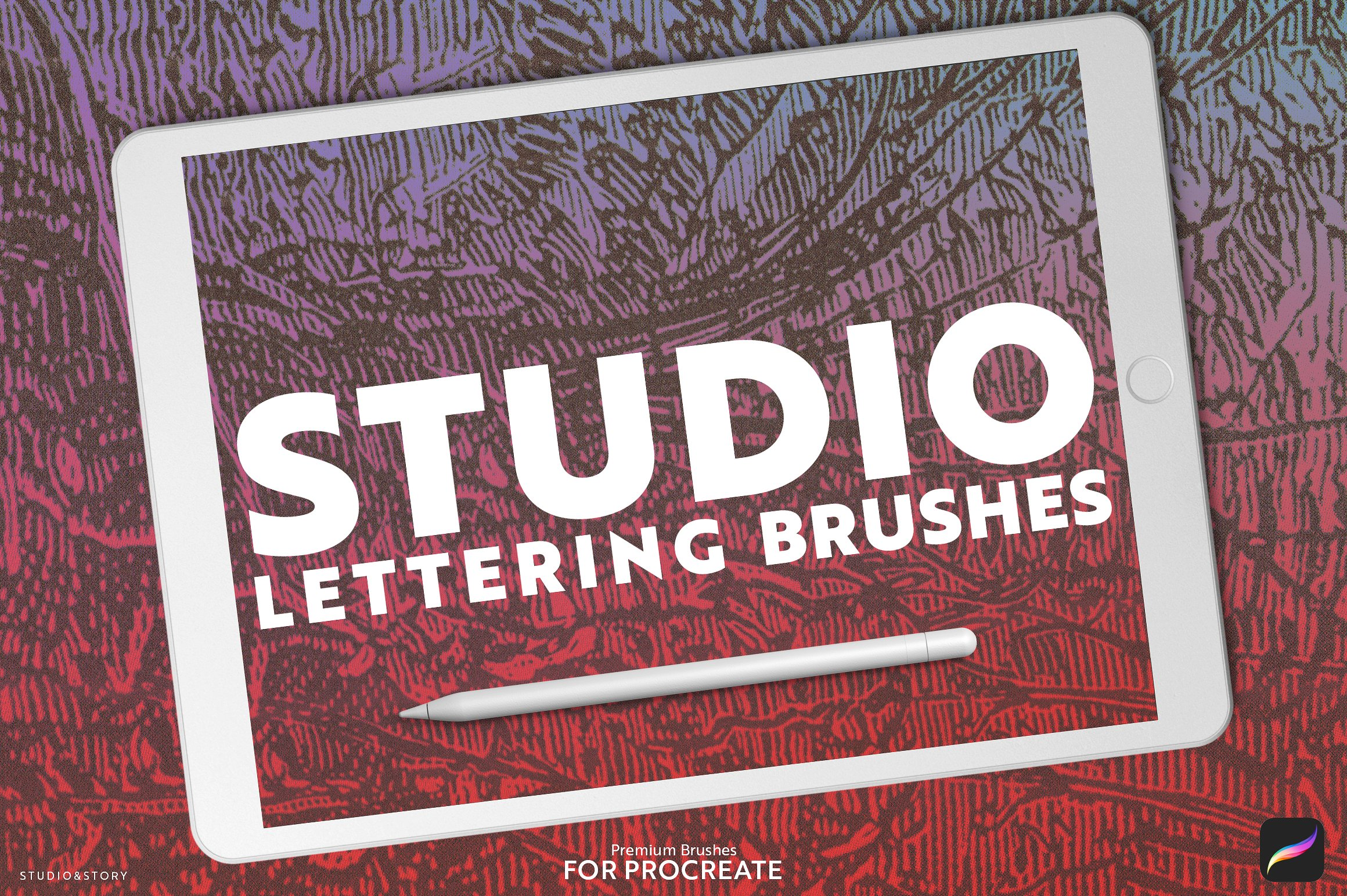 12款真实手写毛笔Procreate笔刷 12 Lettering Brushes for Procreate插图