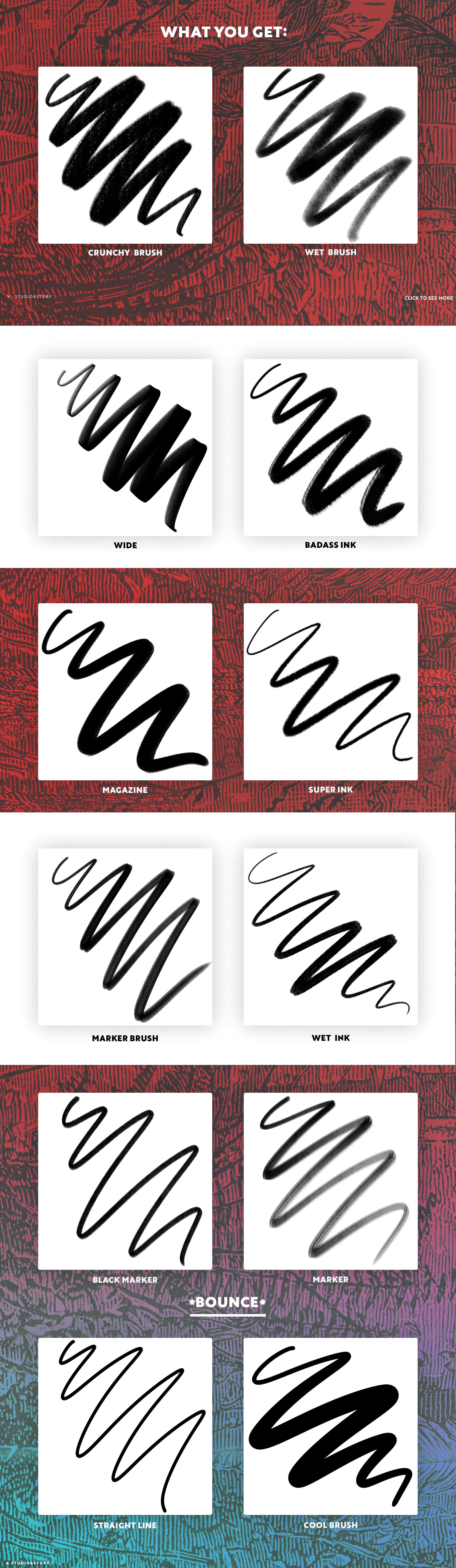 12款真实手写毛笔Procreate笔刷 12 Lettering Brushes for Procreate插图(6)