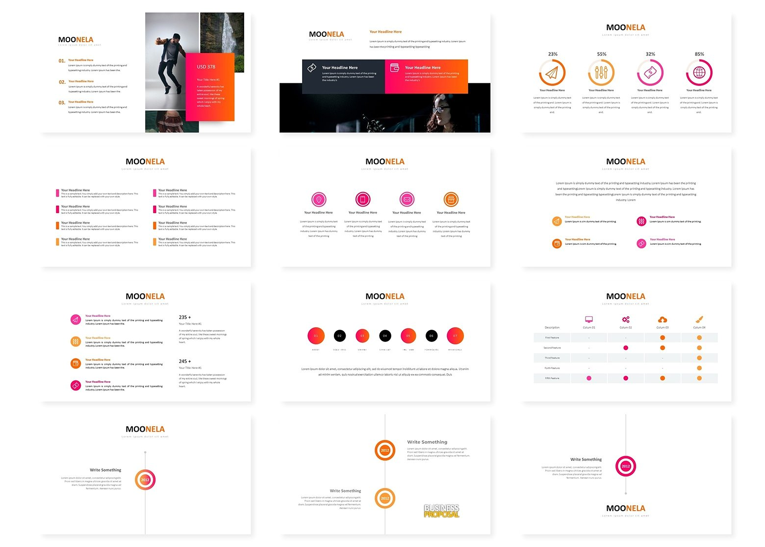 超巨量的红色企业介绍幻灯片模板 Super Huge Red Corporate Presentation Slide Template插图2