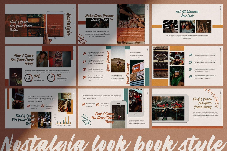 创意怀旧的服装品牌摄影幻灯片演示模板  Creative Nostalgic Clothing Brand Photography Slide Presentation Template插图5