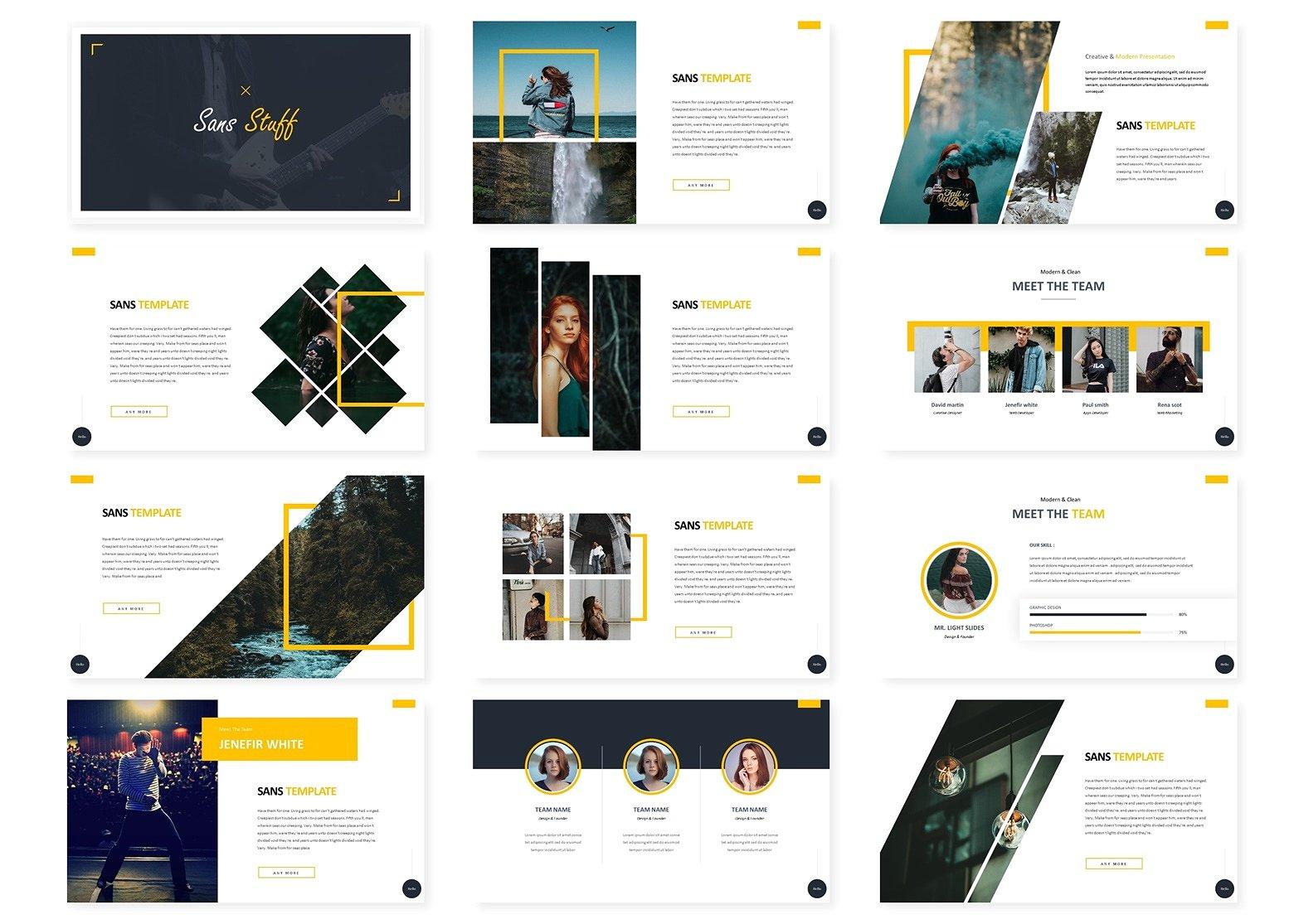 几何图形分割布局的企业介绍幻灯片模板 Corporate Presentation Slide Template For Geometric Segmentation Layout插图1