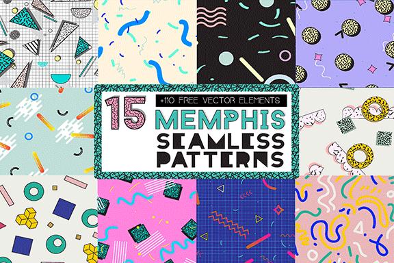 15款孟菲斯全新无缝图案 15 MEMPHIS Seamless Patterns