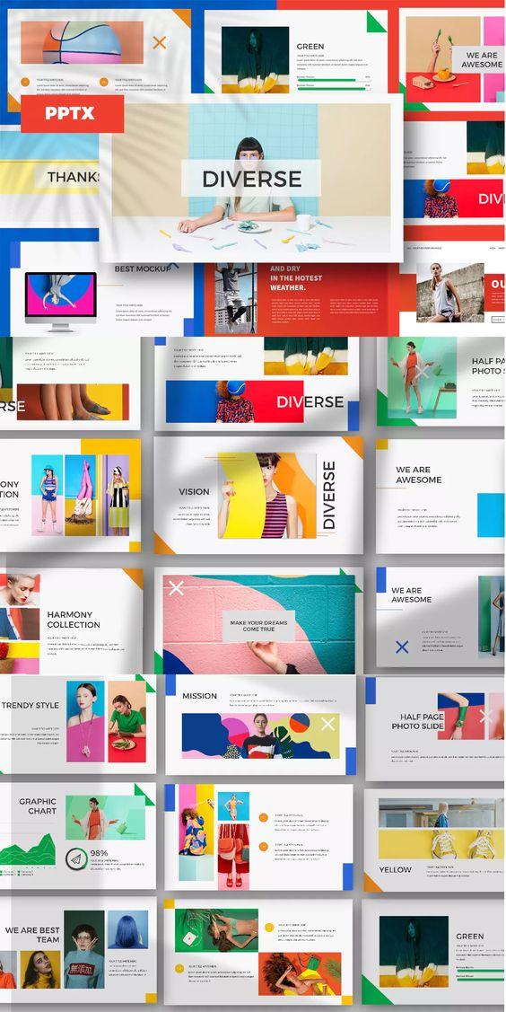 色彩斑斓的多功能服装品牌介绍幻灯片模板 DIVERSE – Powerpoint, Keynote, Google Sliders Templates插图