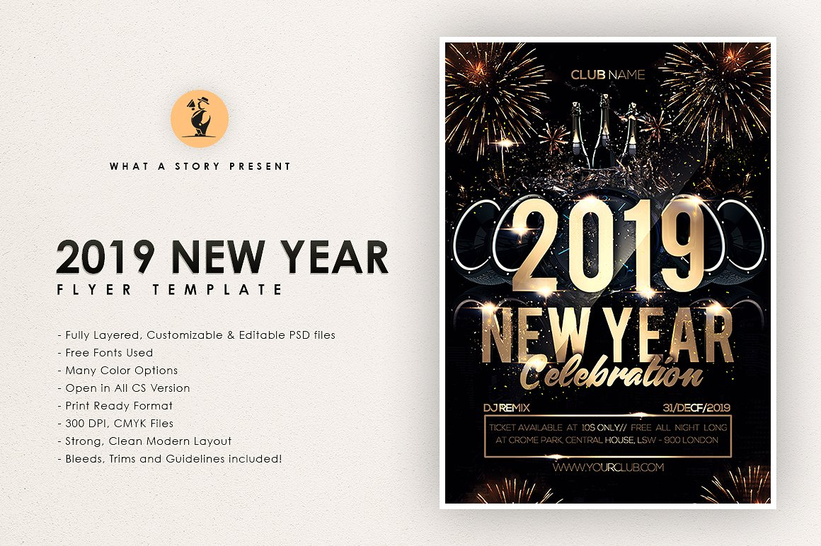 2019年彩金新年传单/邀请海报模板 2019 Lottery New Year Flyer / Invitation Poster Template插图