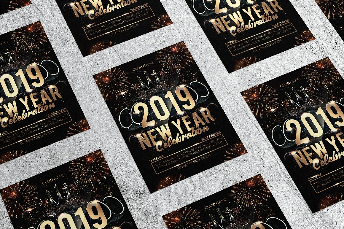 2019年彩金新年传单/邀请海报模板 2019 Lottery New Year Flyer / Invitation Poster Template插图(3)