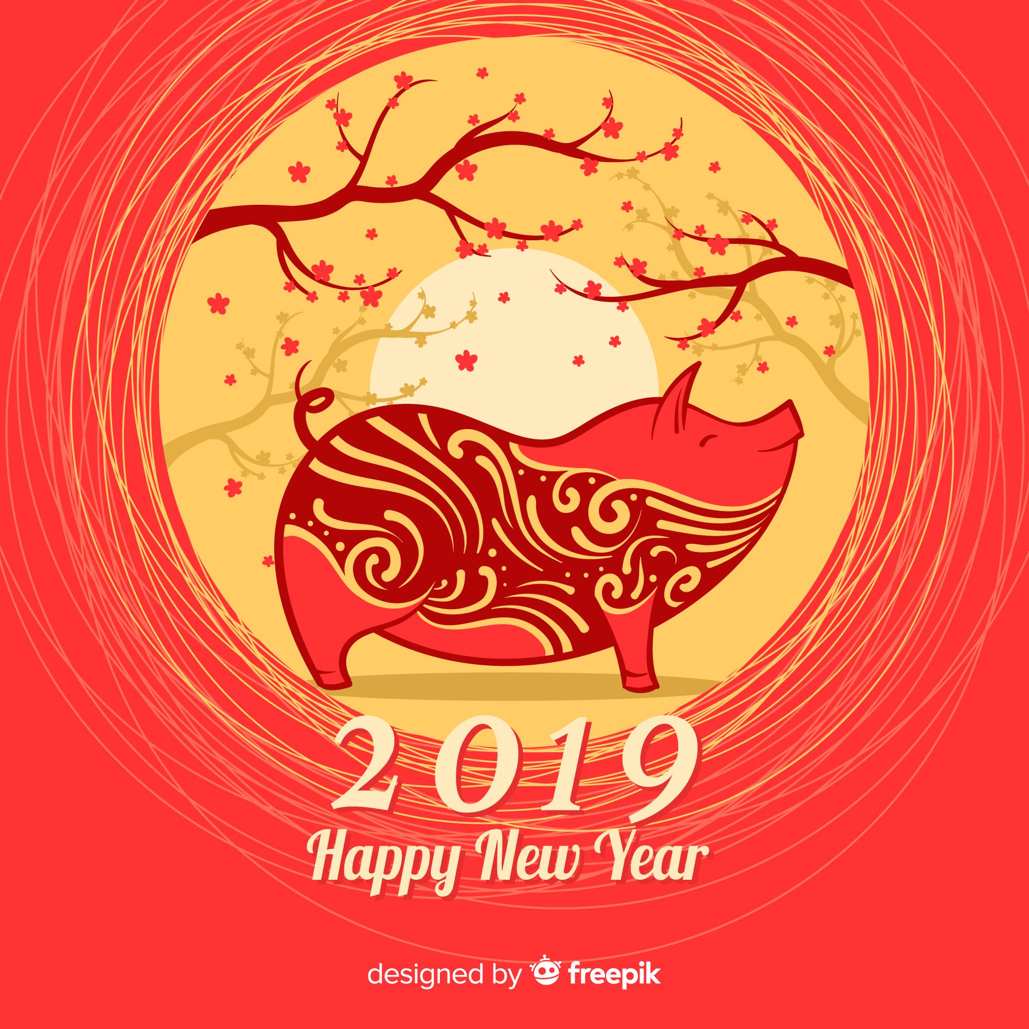 猪年(己亥年)矢量创意图形矢量素材模板 Pig Year (Hai Haiian) Vector Creative Graphic Vector Material Template [EPS]插图