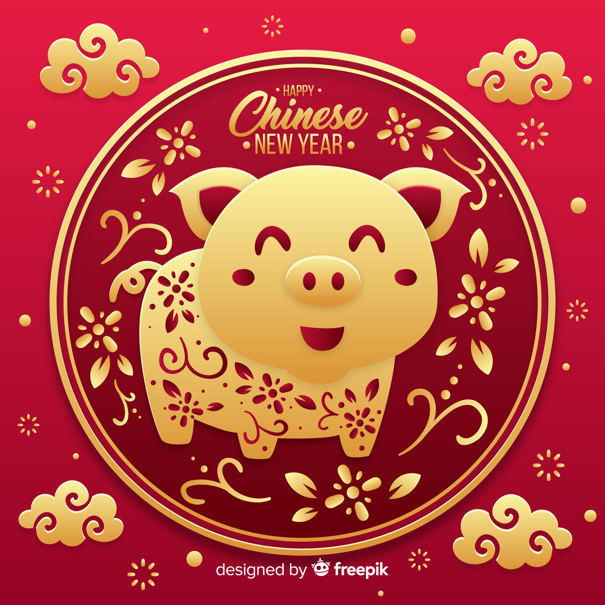 猪年(己亥年)矢量创意图形矢量素材模板 Pig Year (Hai Haiian) Vector Creative Graphic Vector Material Template [EPS]插图(2)