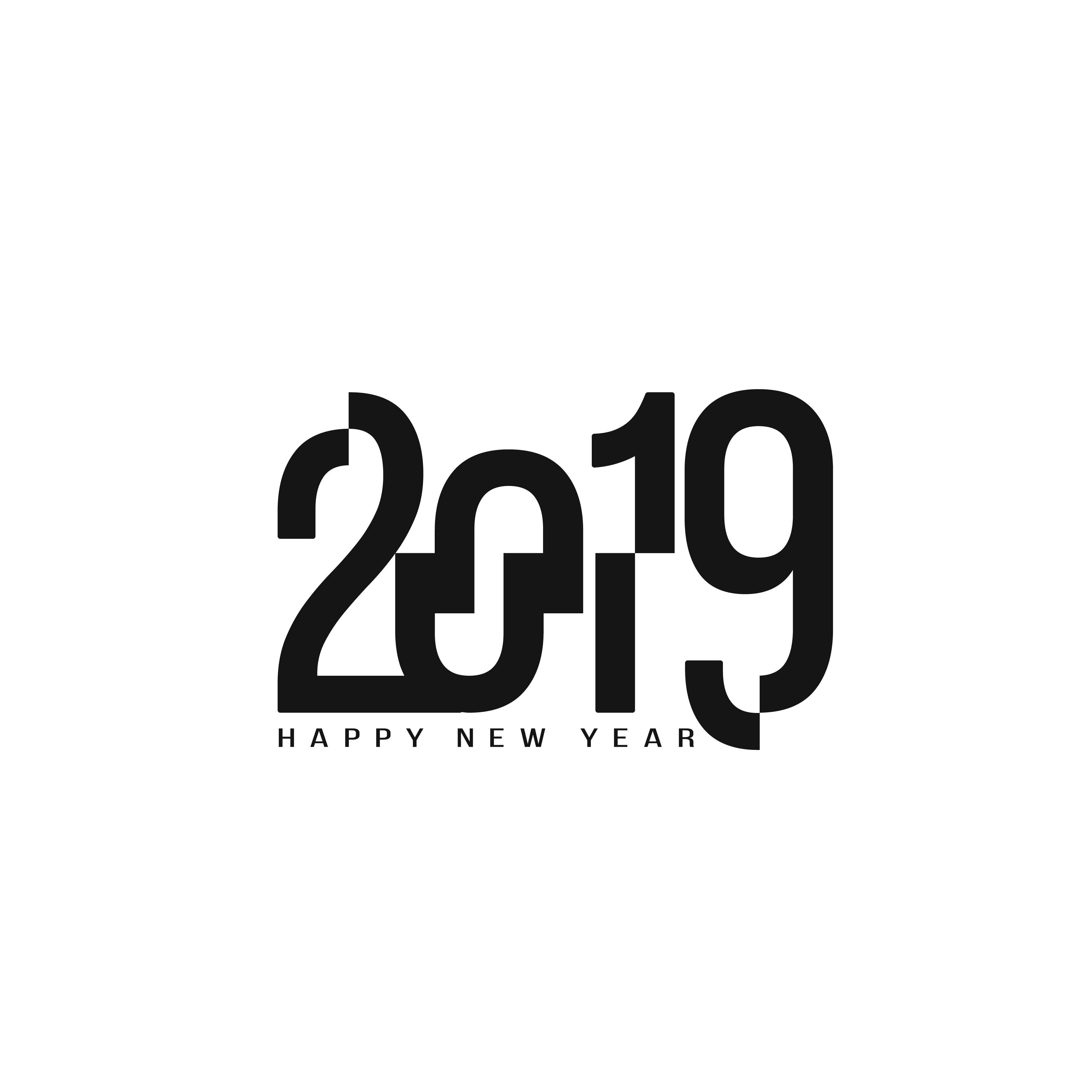 新年快乐创意2019时尚字体矢量素材 Happy New Year 2019 Stylish Text Design插图(5)