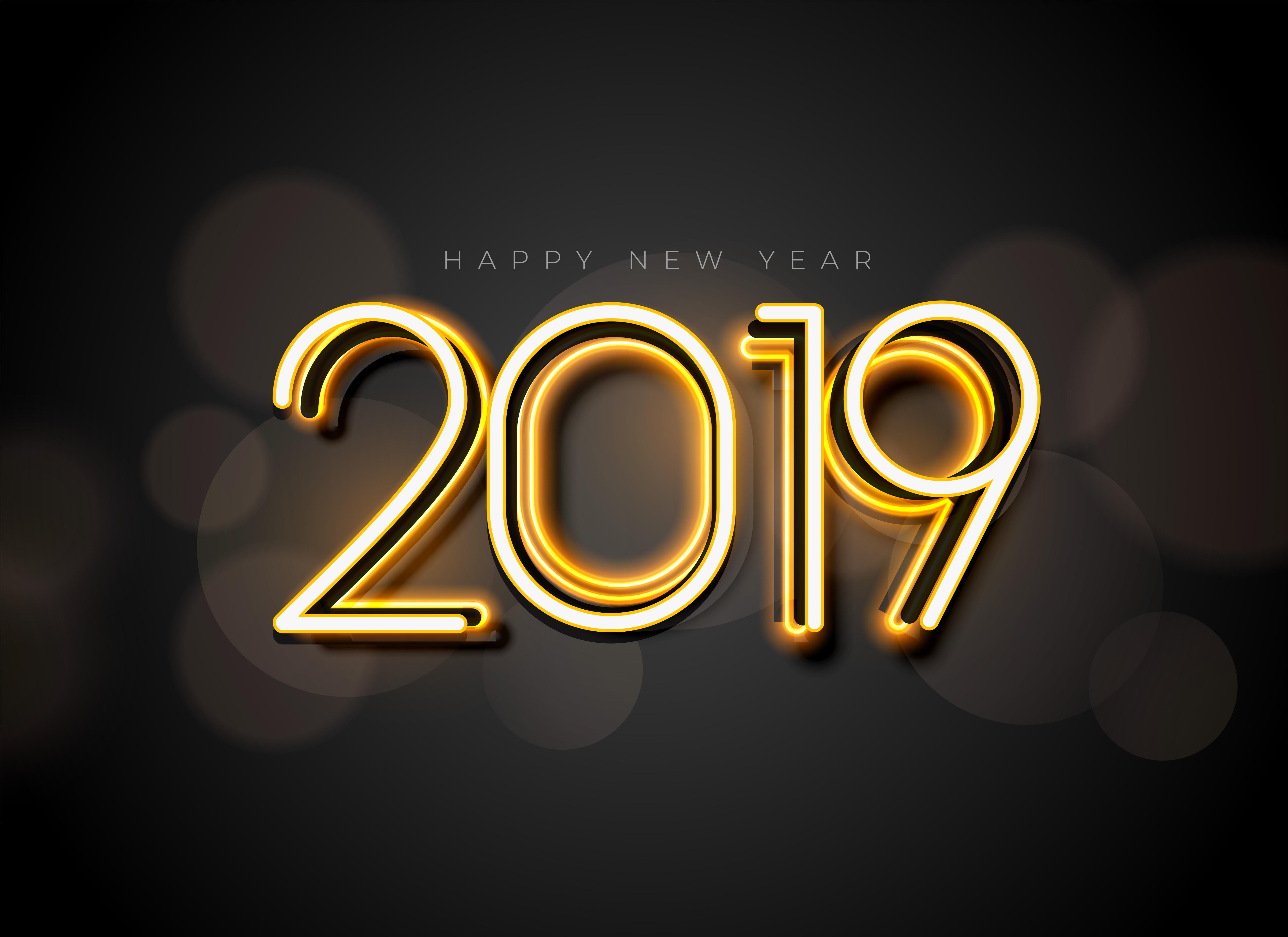 新年快乐创意2019时尚字体矢量素材 Happy New Year 2019 Stylish Text Design插图(3)