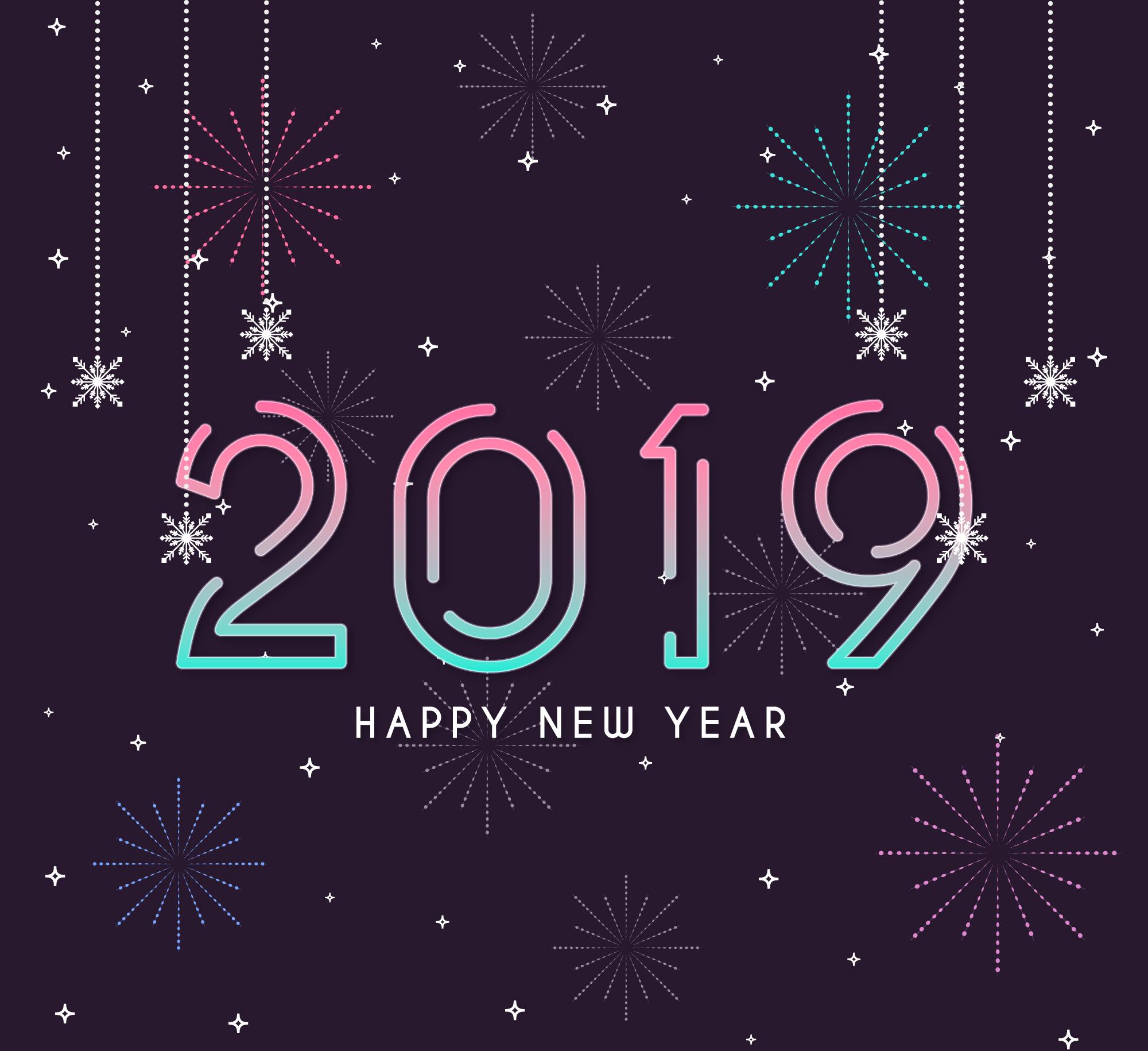 新年快乐创意2019时尚字体矢量素材 Happy New Year 2019 Stylish Text Design插图(1)