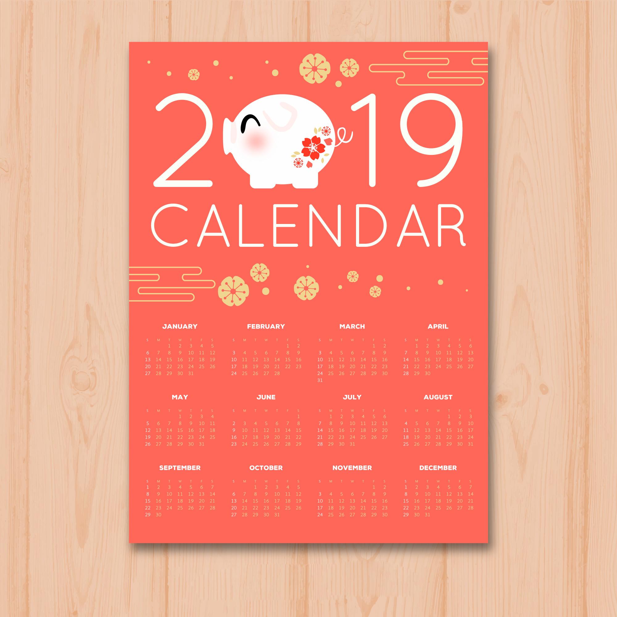 时尚简约的2019新年挂历日历矢量素材模板 Stylish Minimalist 2019 New Year Calendar Calendar Vector Material Template插图(7)