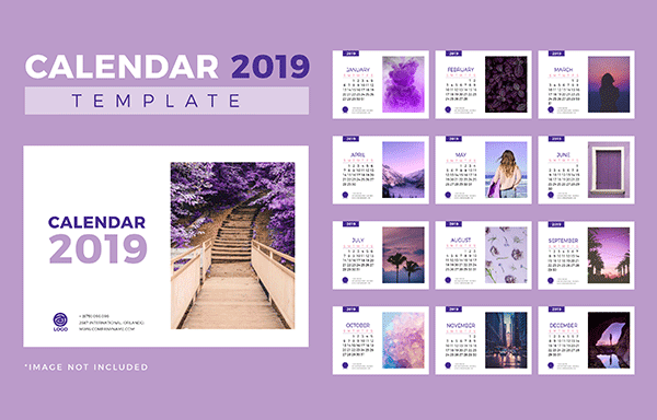 时尚简约的2019新年挂历日历矢量素材模板 Stylish Minimalist 2019 New Year Calendar Calendar Vector Material Template