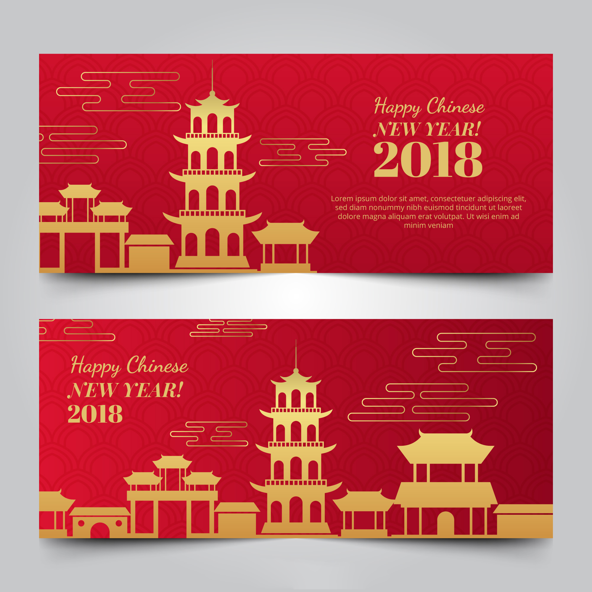 2019新年农历猪年贺卡矢量素材模板 2019 New Year Lunar Year Of The Pig Greeting Card Vector Material Template插图(7)