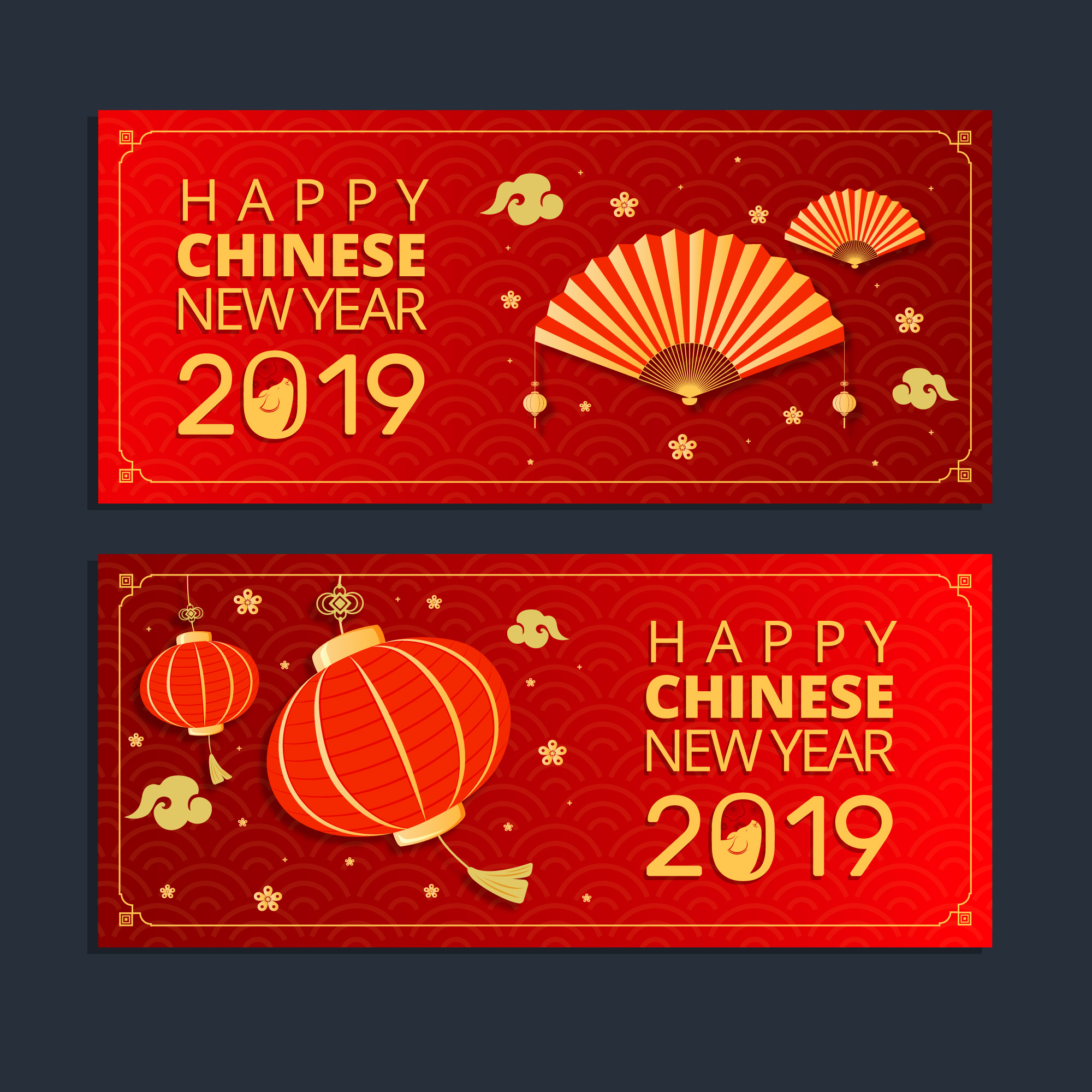 2019新年农历猪年贺卡矢量素材模板 2019 New Year Lunar Year Of The Pig Greeting Card Vector Material Template插图(2)