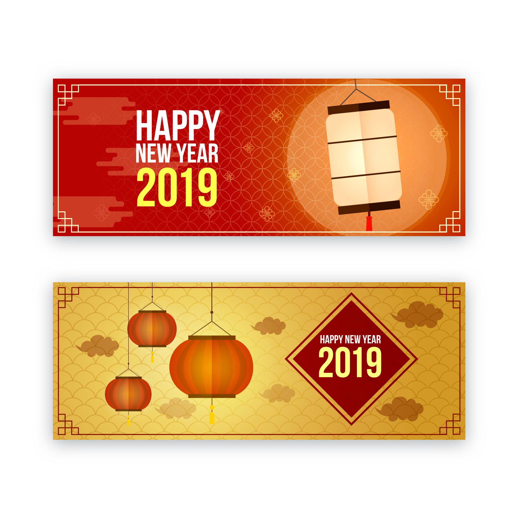 2019新年农历猪年贺卡矢量素材模板 2019 New Year Lunar Year Of The Pig Greeting Card Vector Material Template插图(6)