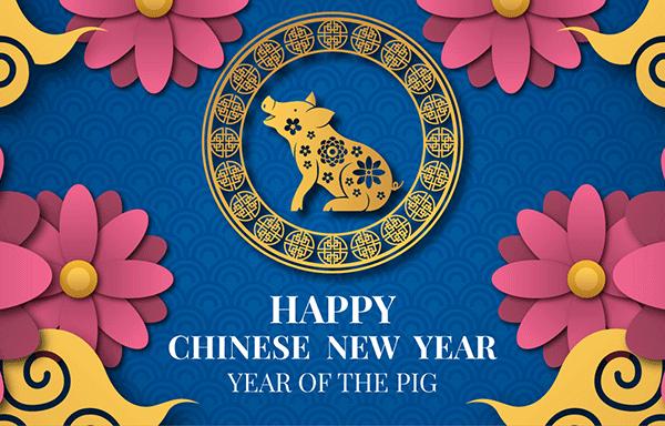 2019新年农历猪年贺卡矢量素材模板 2019 New Year Lunar Year Of The Pig Greeting Card Vector Material Template