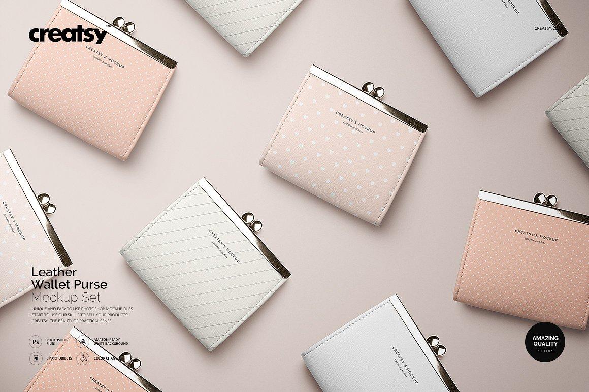时尚皮革钱包品牌设计提案展示样机套装 Leather Wallet Purse Mockup Set插图
