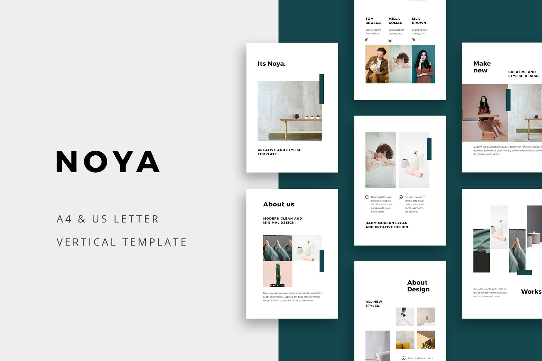 别致垂直A4女性服装品牌介绍PPT模板 NOYA – Vertical Powerpoint Template插图