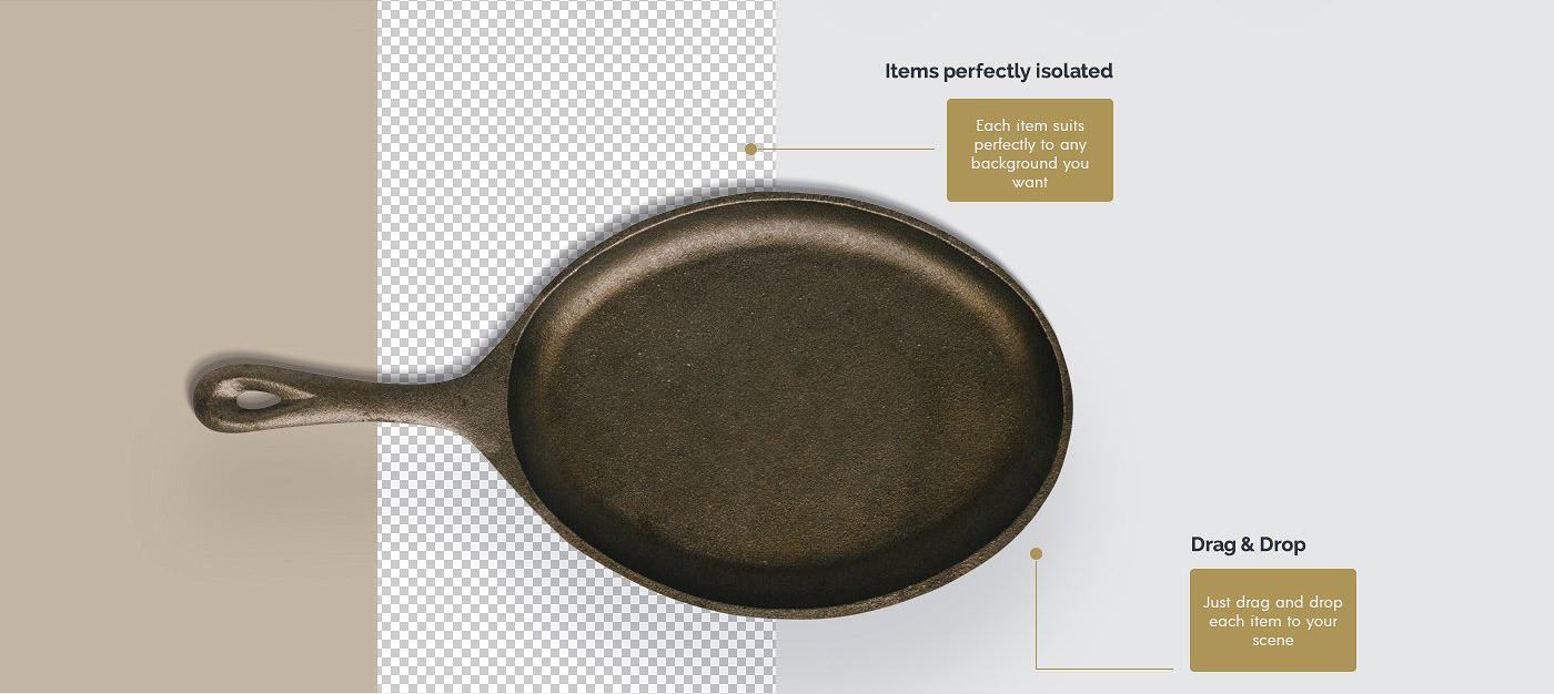 5.98G 餐饮品牌设计提案橄榄木木质餐具展示样机 Olive Wood Mock-Up Scene Generator插图(6)