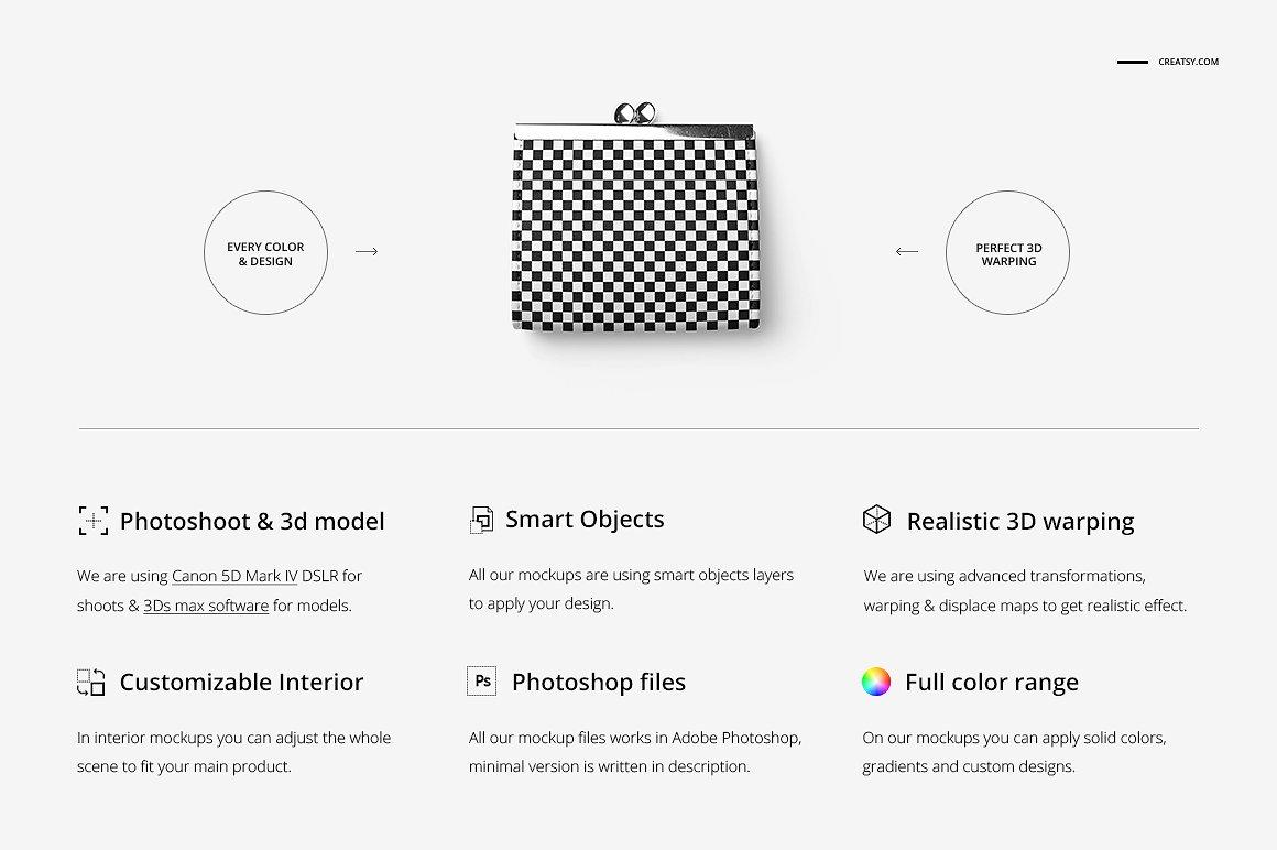 时尚皮革钱包品牌设计提案展示样机套装 Leather Wallet Purse Mockup Set插图(1)