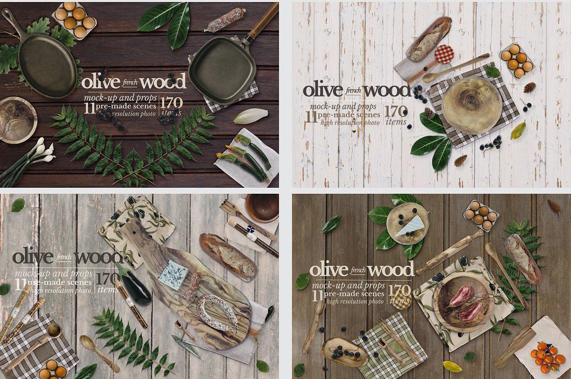 5.98G 餐饮品牌设计提案橄榄木木质餐具展示样机 Olive Wood Mock-Up Scene Generator插图(12)