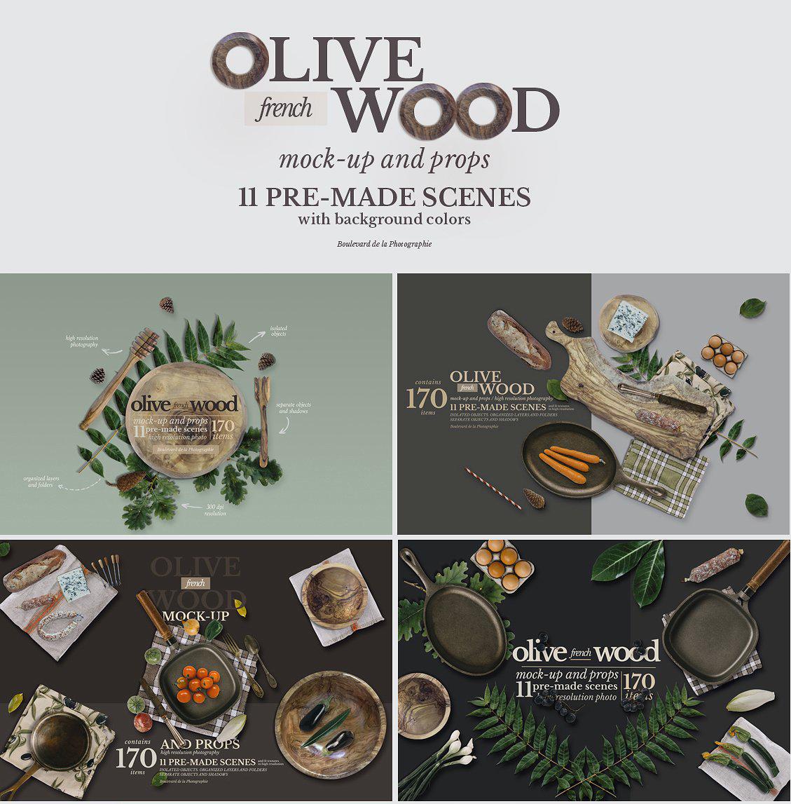 5.98G 餐饮品牌设计提案橄榄木木质餐具展示样机 Olive Wood Mock-Up Scene Generator插图(13)