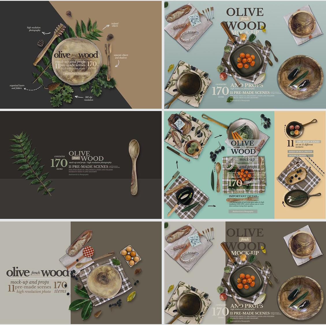 5.98G 餐饮品牌设计提案橄榄木木质餐具展示样机 Olive Wood Mock-Up Scene Generator插图(14)