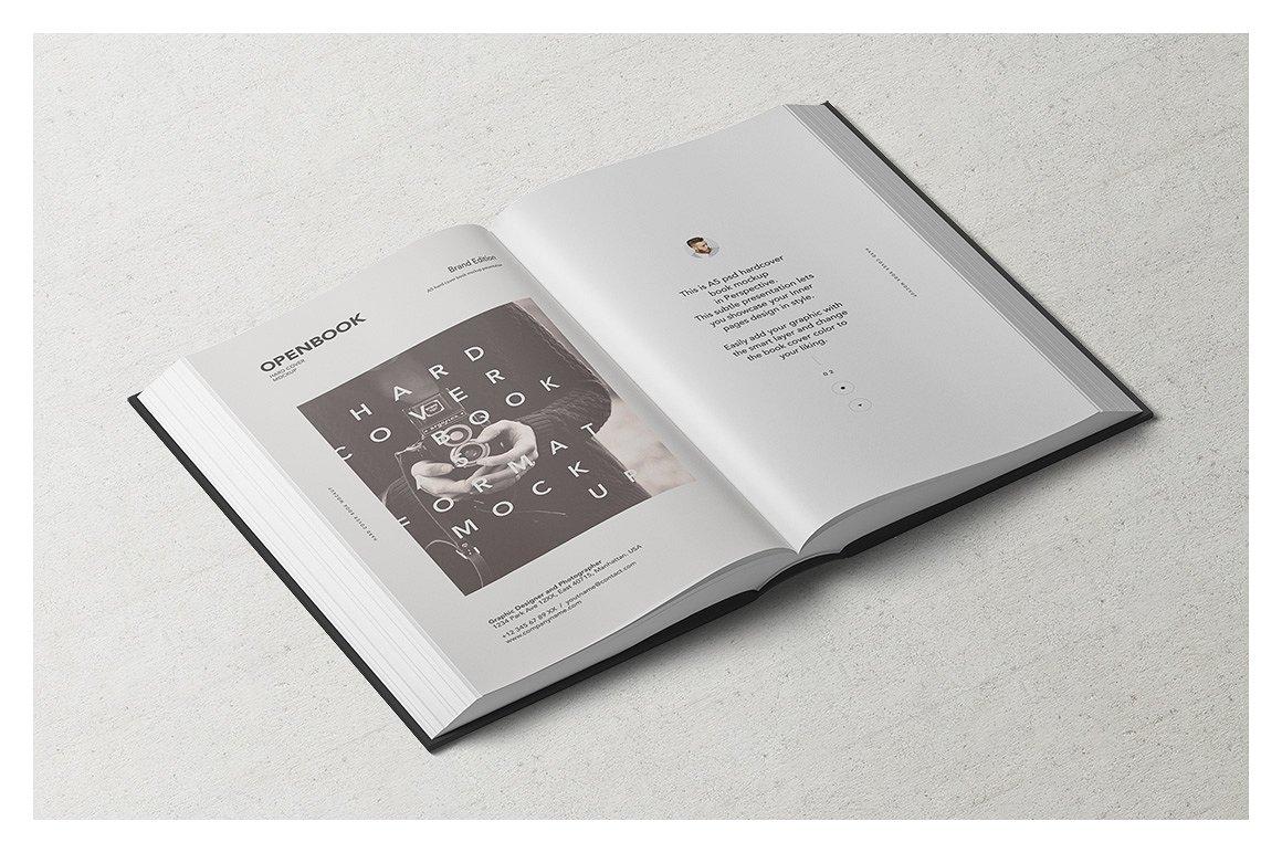 高端精装书封面内页设计提案展示样机 Hardcover Book Mockup Set插图(3)