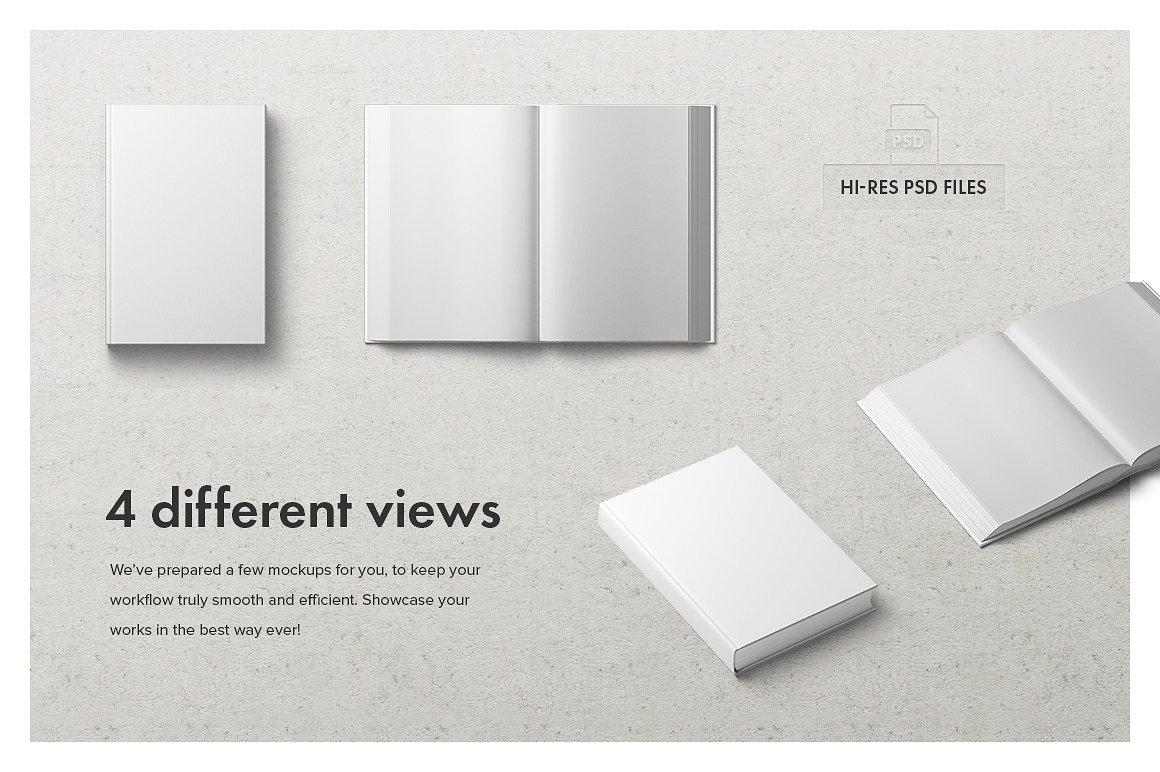 高端精装书封面内页设计提案展示样机 Hardcover Book Mockup Set插图(4)