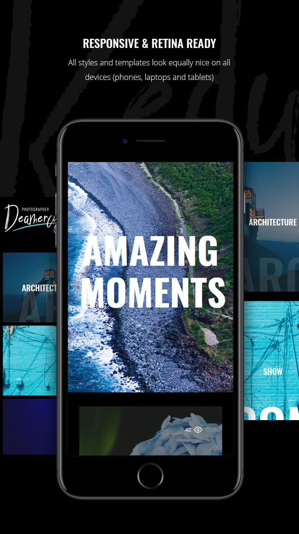 响应式摄影师艺术家作品展示WordPress主题 Deamercy – Photography Portfolio WordPress Theme插图(4)