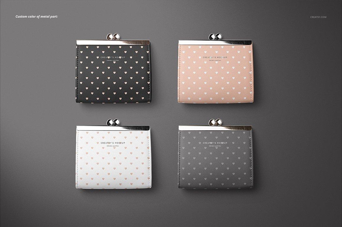 时尚皮革钱包品牌设计提案展示样机套装 Leather Wallet Purse Mockup Set插图(7)