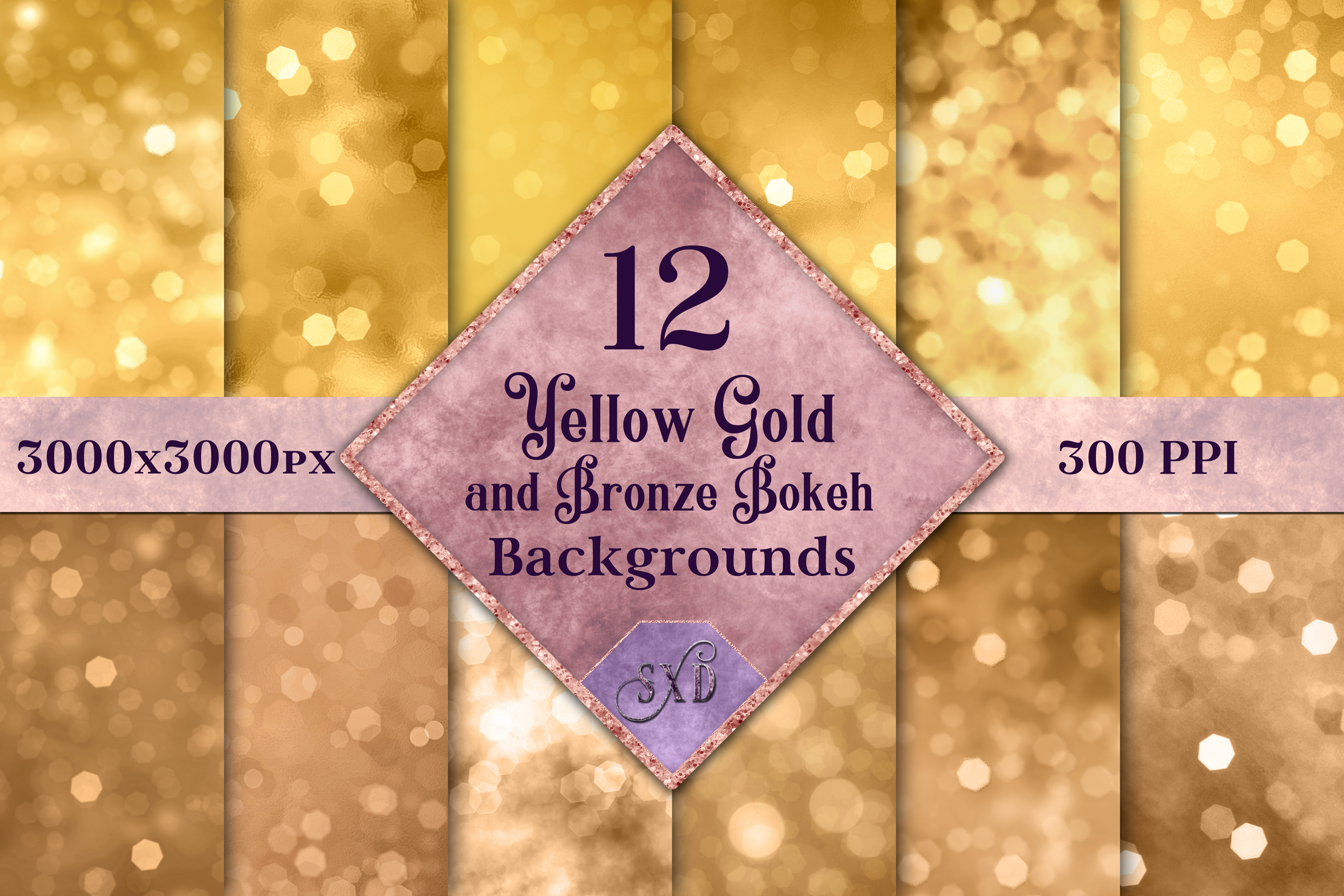 黄金青铜玻璃效果数码纸纹理 Yellow Gold and Bronze Bokeh Backgrounds – 12 Image Textures插图
