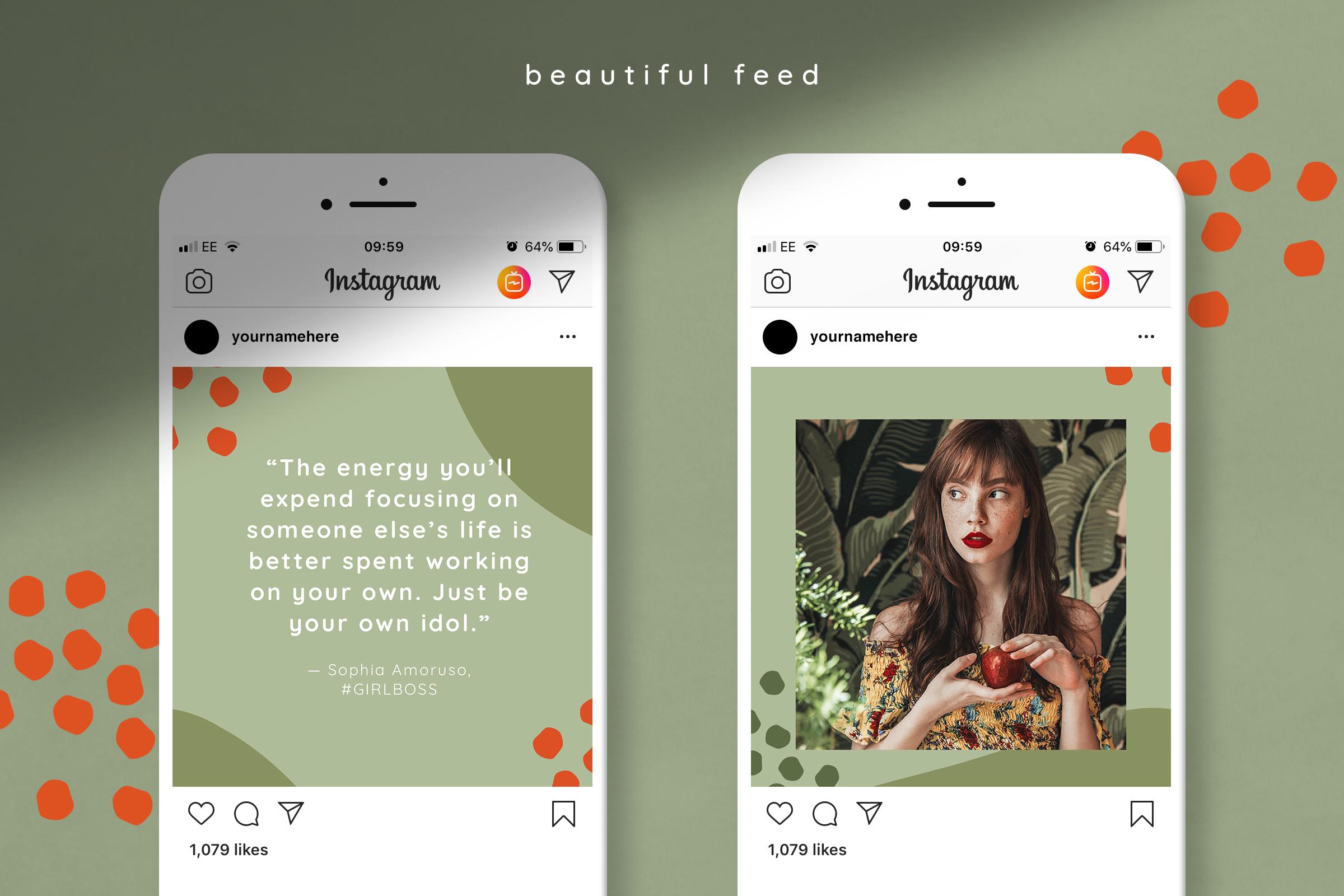 摄影照片朋友圈展示INS风模板图文排版PSD海报 Instagram Quotes Puzzle Template插图(3)