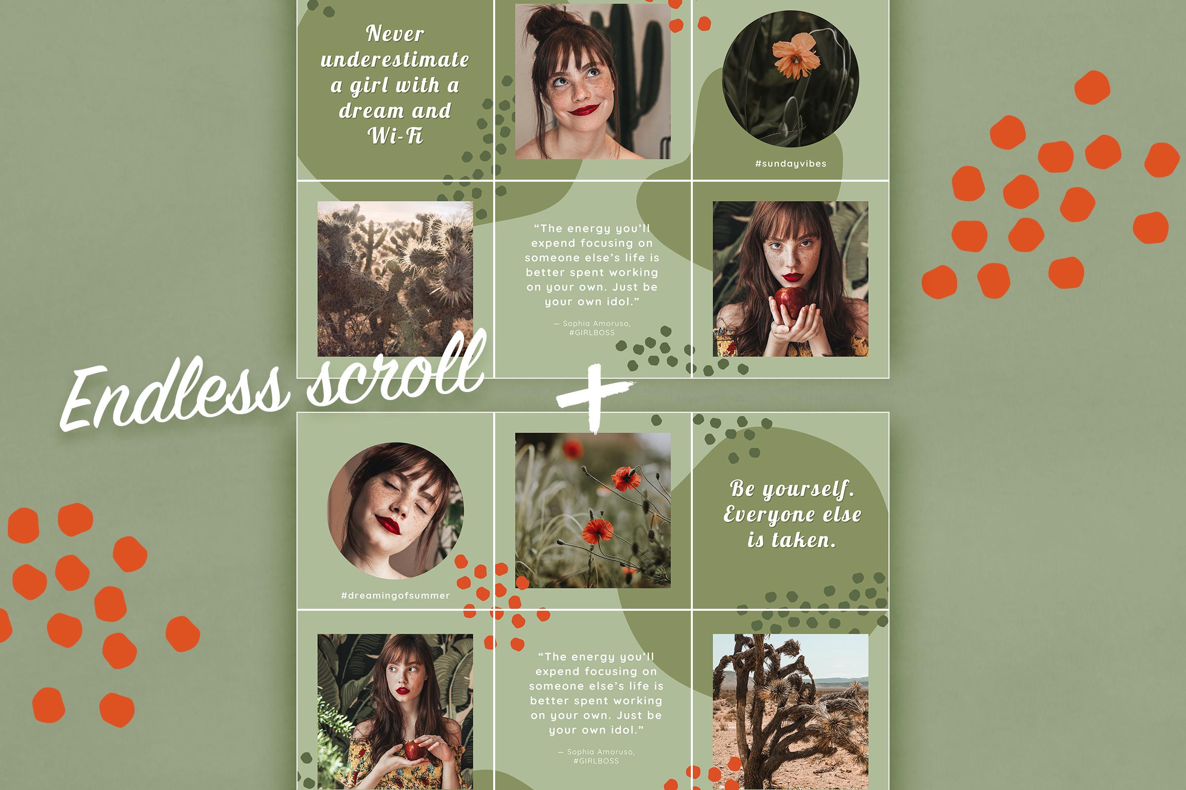 摄影照片朋友圈展示INS风模板图文排版PSD海报 Instagram Quotes Puzzle Template插图(6)