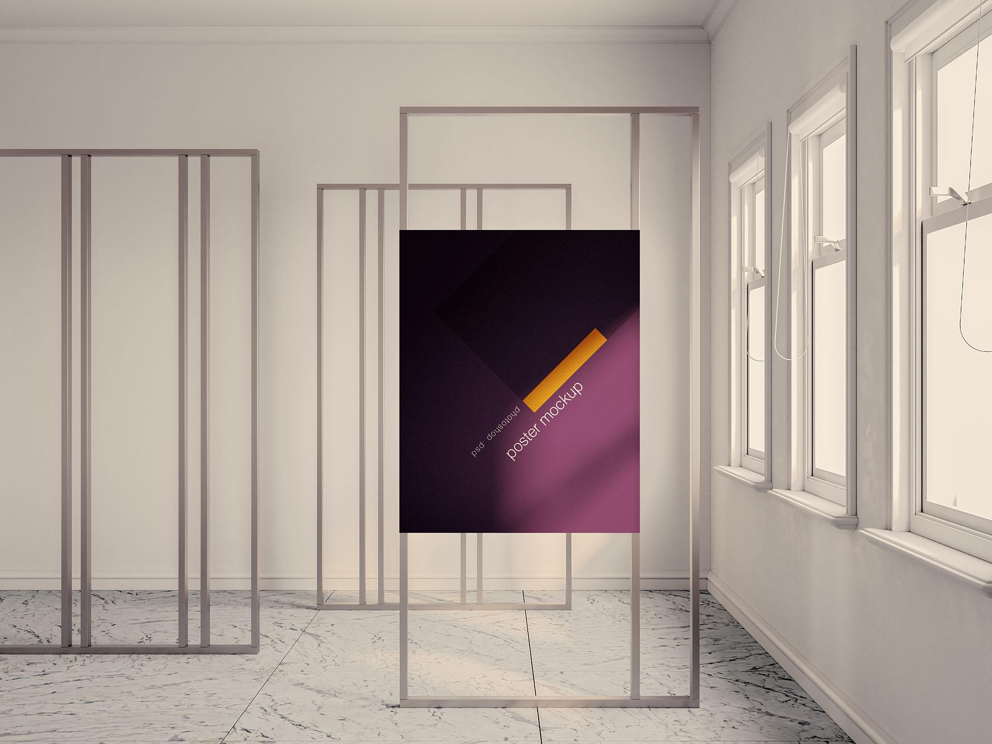 室内海报易拉宝广告牌展示样机PSD智能贴图模板 Exhibition Poster Mockup插图