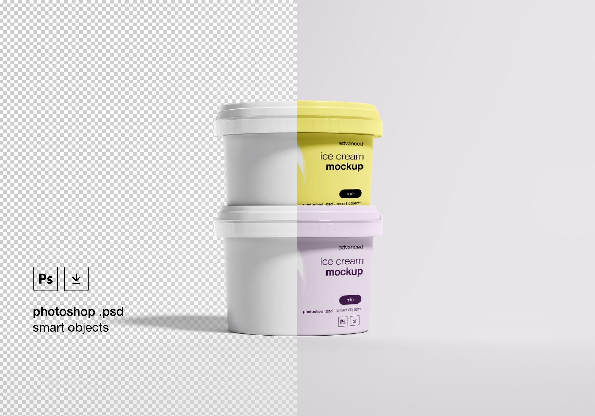 冰激凌蛋卷雪糕包装样机PSD智能贴图模板 Ice Cream Package Mockup插图1