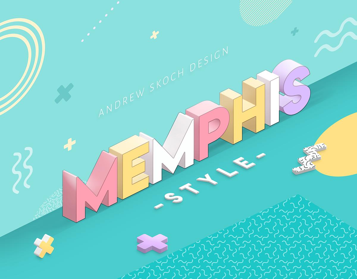 孟菲斯风格3D立体效果文本图层样式 Memphis Style – Text Effects插图