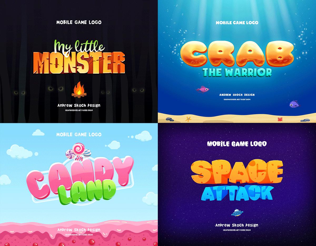 30个游戏标题海洋元素3D立体字体图层样式 Game Titles Bundle – 30 Text Effects插图(1)
