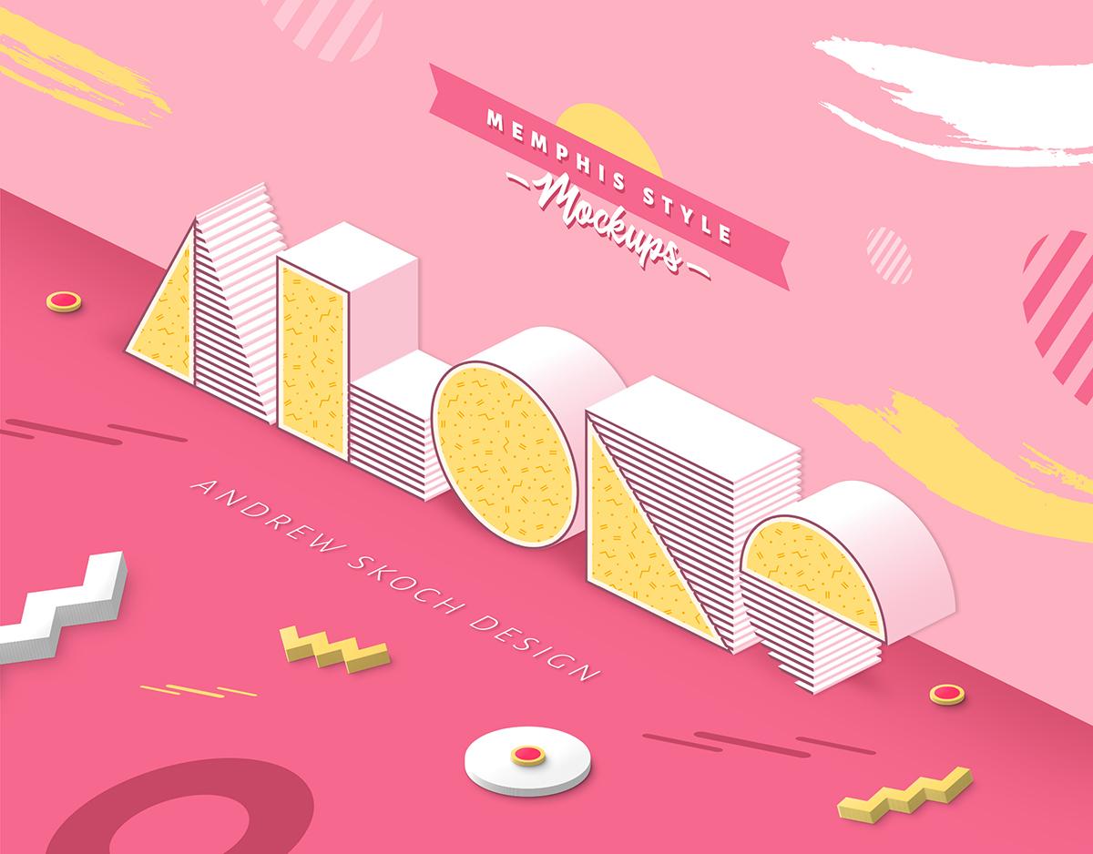 孟菲斯风格3D立体效果文本图层样式 Memphis Style – Text Effects插图(3)